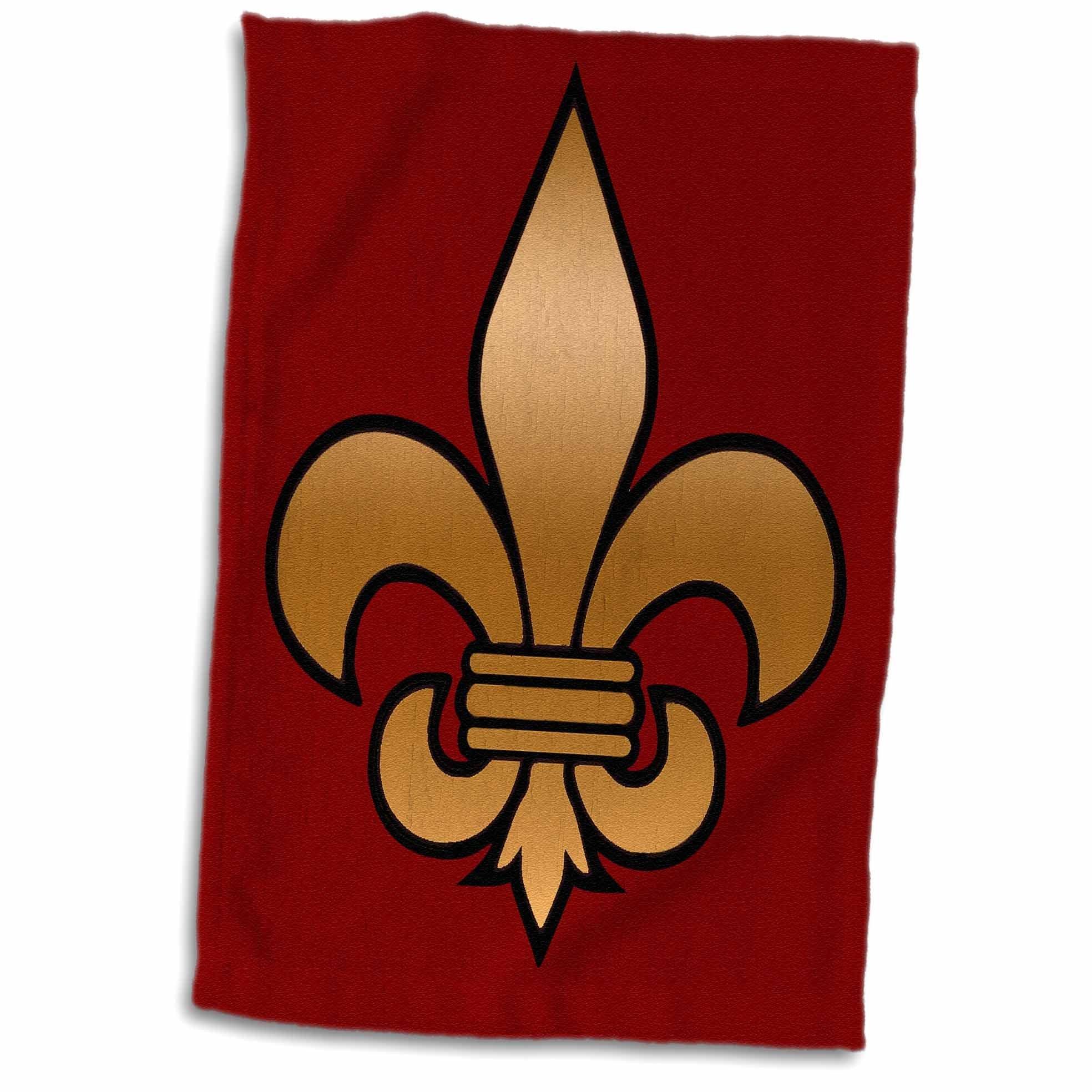 3D Rose Large Black and Gold Fleur De Lis on Maroon Background Christian Symbol twl_30760_1 Towel, 15'' x 22''