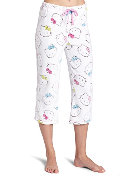 84489a43c175 Amazon.com: Hello Kitty Women's Juniors Burn Out Capri Pant, White Medium:  Clothing