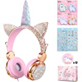 Charlxee Kids Headphones with Microphone for School,Giant Unicorn Gifts for Girls Children Birthday,On Over Ear Headset with