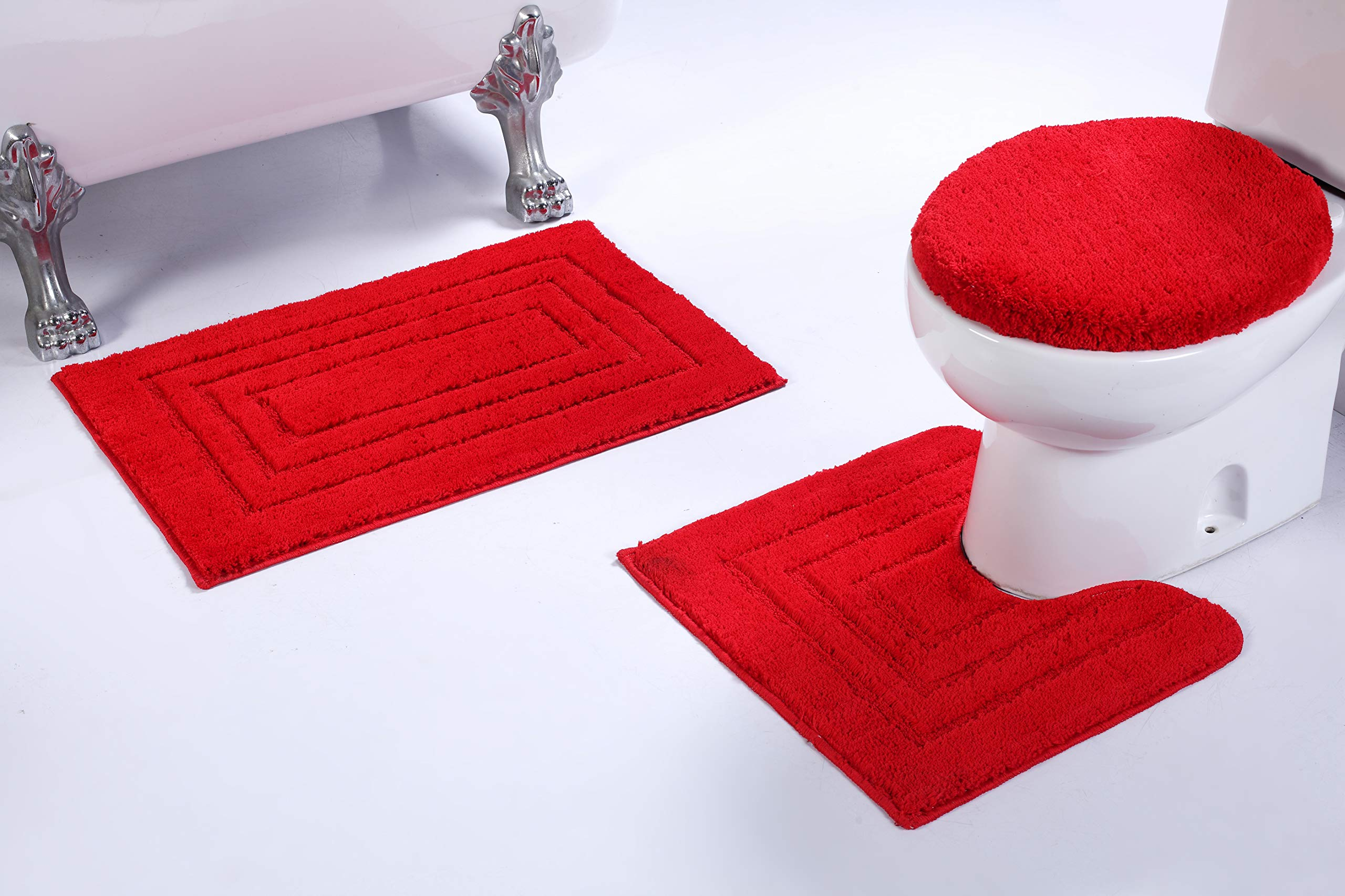 Fancy Linen 3pc Non-Slip Bath Mat Set with Rectangle Pattern Solid Red Bathroom U-Shaped Contour Rug, Mat and Toilet Lid Cover New # Bath 66