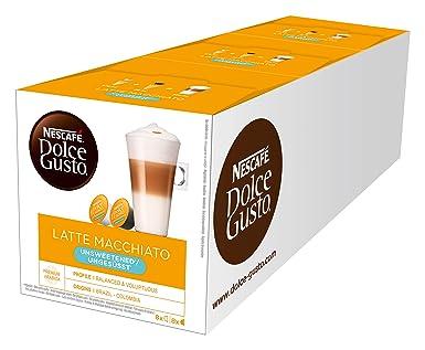 NESCAFÉ Dolce Gusto Latte Macchiato ungesüßt, 48 Kaffeekapseln, Ohne zugesetzten Zucker, Espresso, 3-Schichten -Köstlichkeit