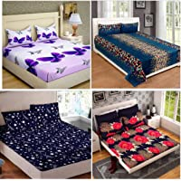 HIYANSHI HOME FURNISHING Combo Set of 4 Glace Cotton King Size Double Bedsheet with 8 Pillow Covers,Colour-Multi