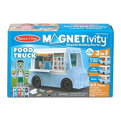 Melissa & Doug Magnetivity Magnetic Tiles Building Play Set – BBQ, Ice Cream, Taco Food Truck Vehicle (6 Panels, 55 Magnets, STEM Toy): Toys & Games
