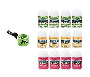 Essential Lip Naturals Mini Lip Balm Assorted Flavors12 Count | Bundle with  | 1 Mini Neoprene