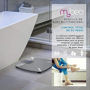 MyBeo - Báscula digital de grasa corporal - Báscula de baño - Monitor de composición corporal - Medición de la grasa corporal Porcentaje de agua Porcentaje de músculo Porcentaje de peso óseo: