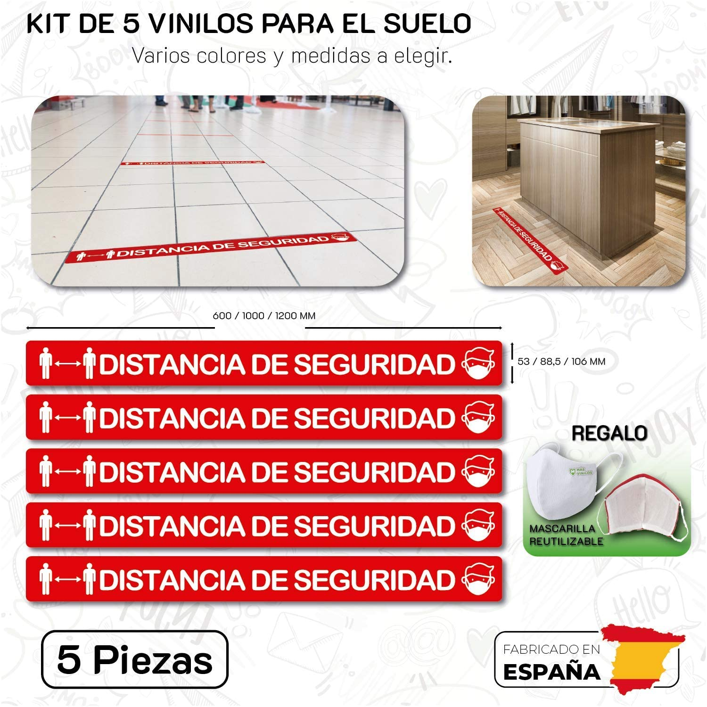 CUAC REVOLUTION Kit 5 Pegatinas Vinilo Antideslizante Suelo Distancia Seguridad (1200X106mm) Rojo Y Blanco Regalo DE UNA MASCARILLA HIGIENICA por Cada Compra