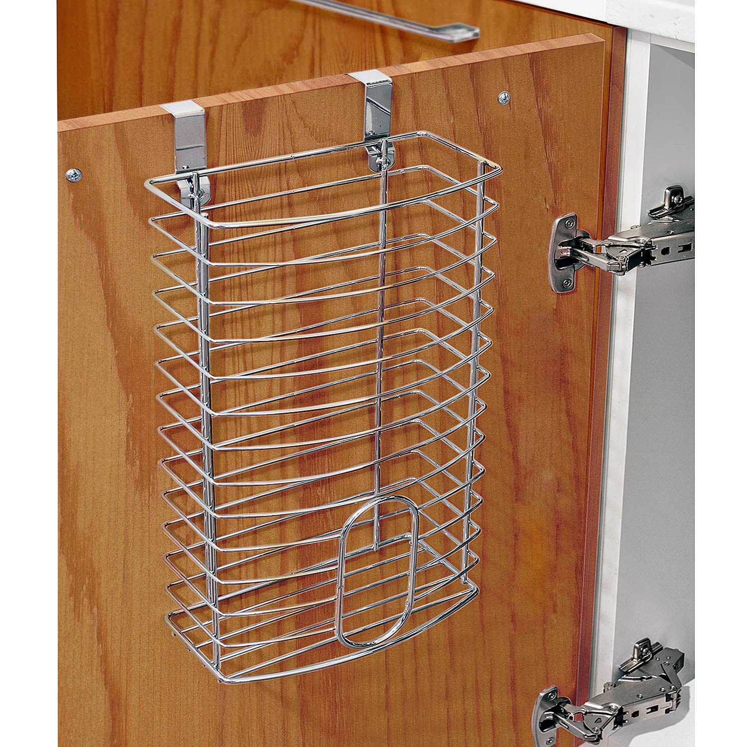 Easy to Place on Shelves Made of Chromed Steel. or Cabinets Tatkraft Fun Over The Door Grocery Bag Holder Versatile and Easy to Use Walls