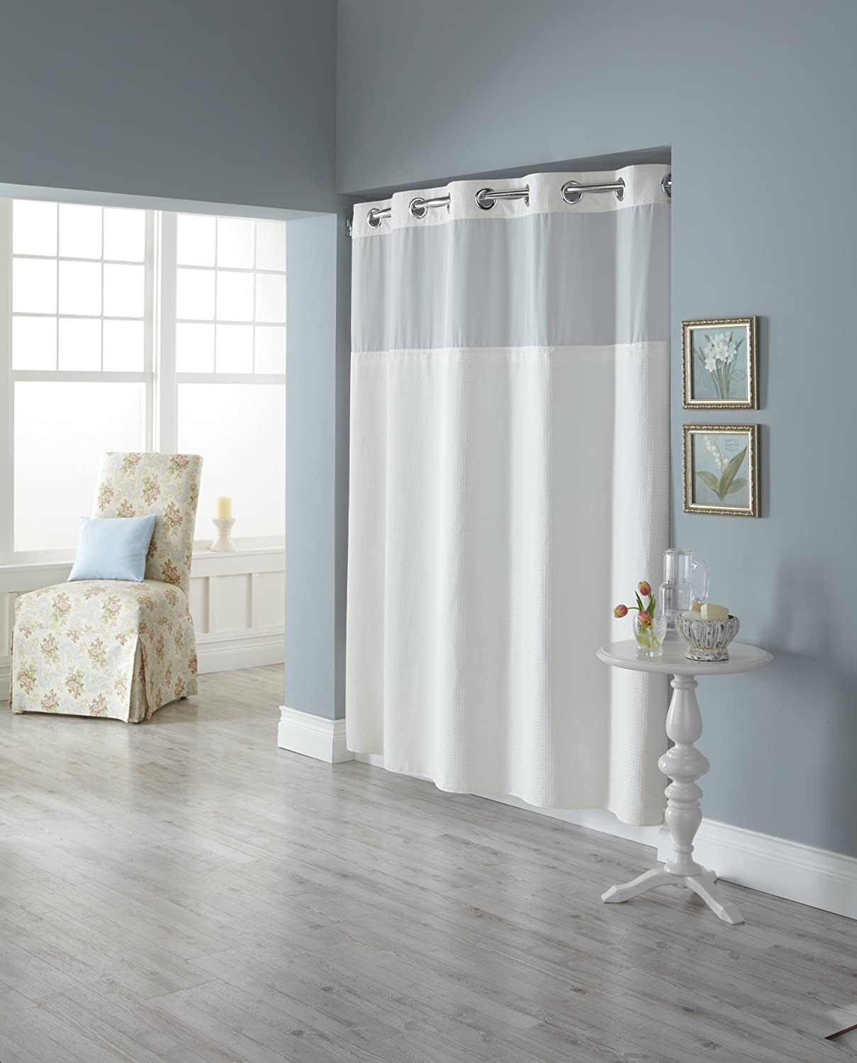 Amazon Hookless RBH82MY417 Fabric Shower Curtain With Built In Liner