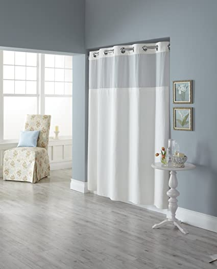 Hookless RBH82MY417 Fabric Shower Curtain With Built In Liner