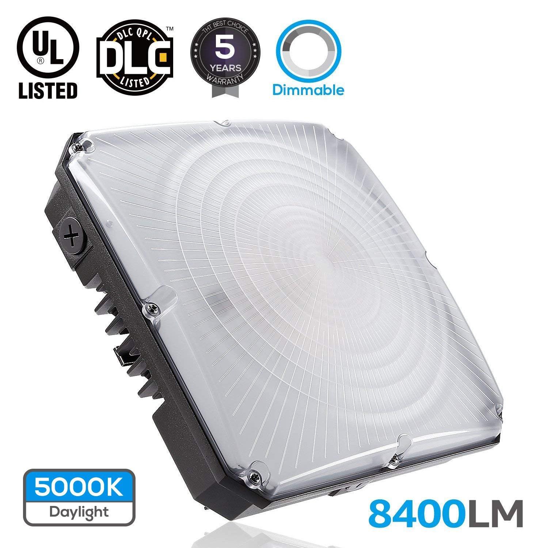 LEONLITE Dimmable LEDCanopyLightFixture, 70W (700W Equivalent), 5000K Daylight, 8400lm, UL & DLC Certified Waterproof, 5 Years Warranty
