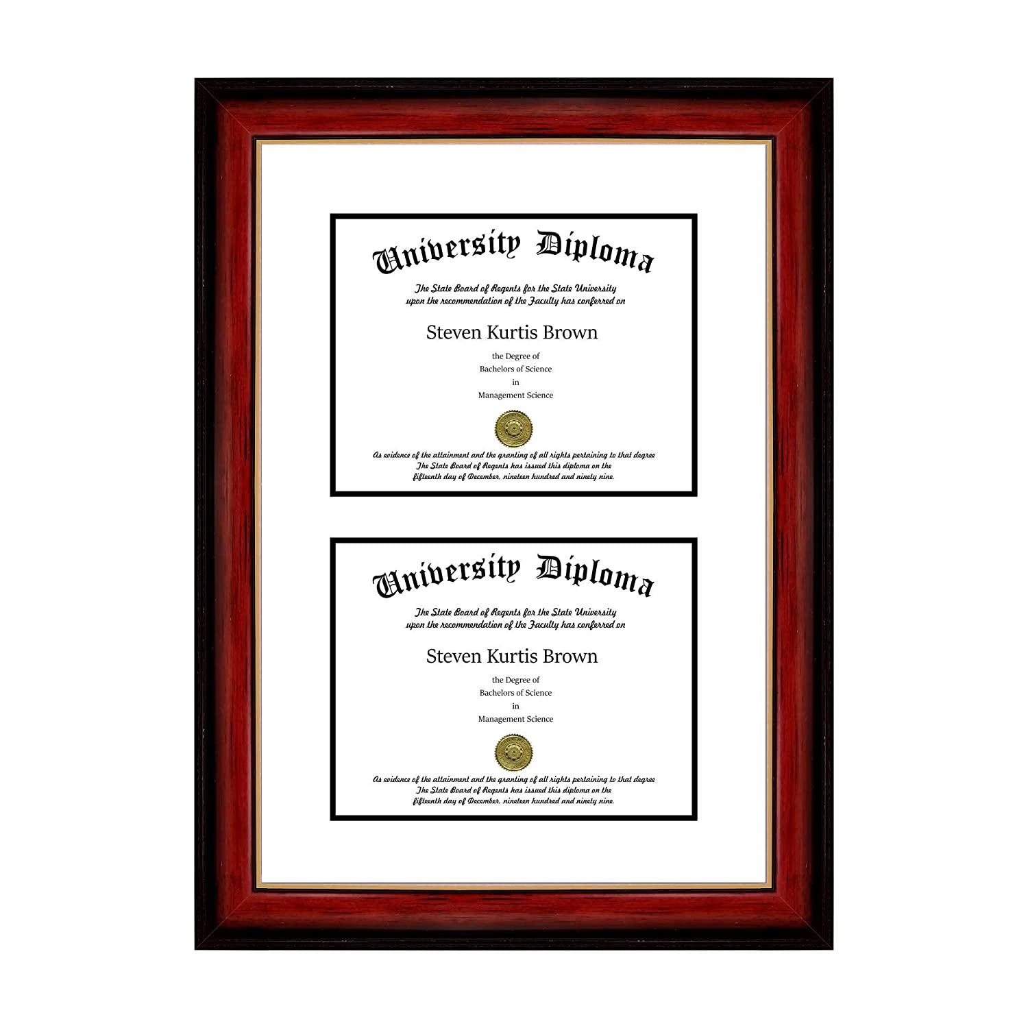 Amazon.com - Double Diploma Frame with Double Matting for 8.5\