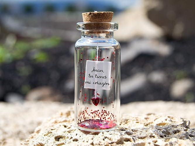 Tu tienes mi corazón. Mensaje en una botella. Miniaturas. Regalo personalizado. Divertida