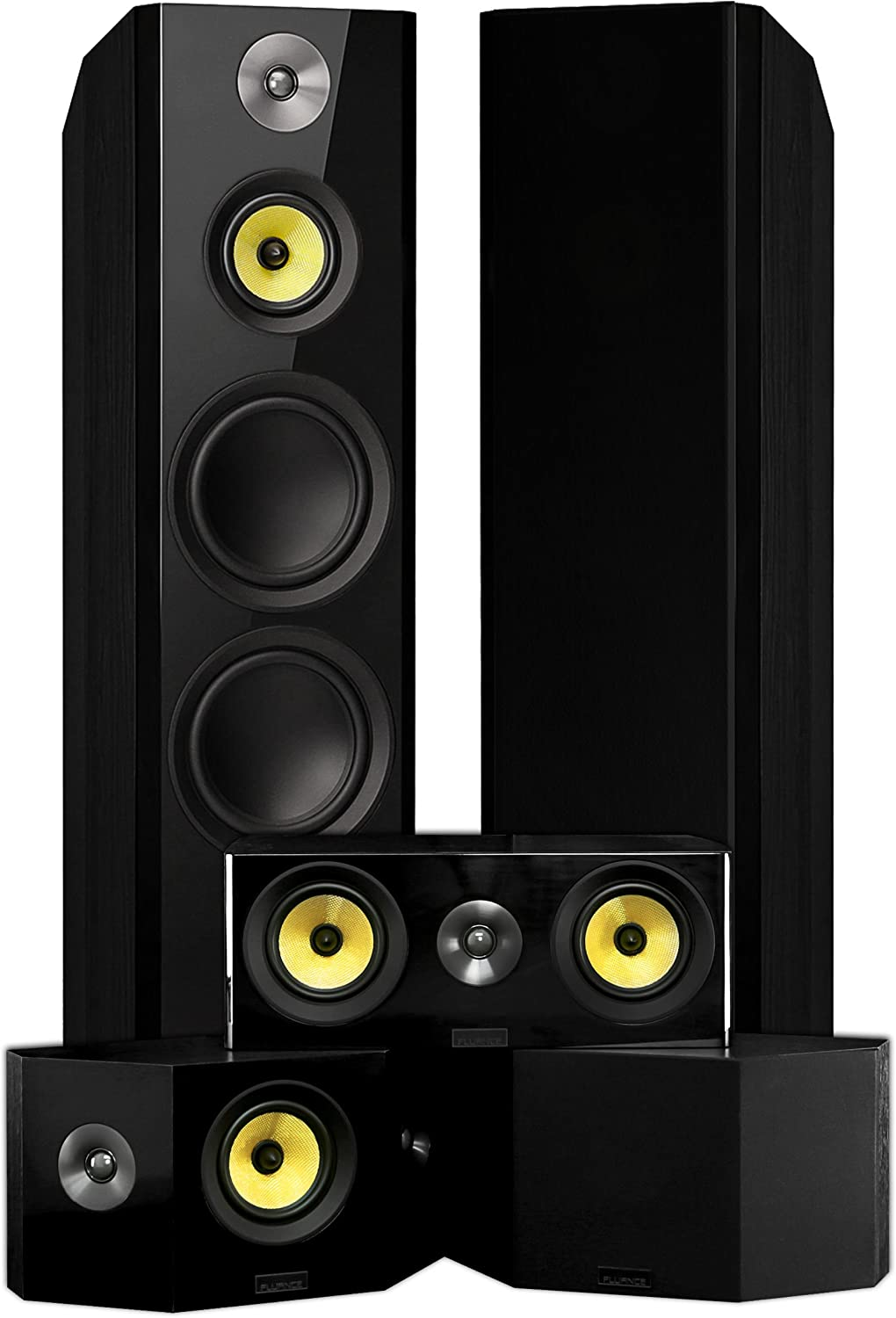 Fluance SignatureSurround Sound Home Theater 5.0 Channel Speaker System Including Three-Way Floorstanding Towers, Center Channel, and Bipolar Speakers - Black Ash (HF50BB)