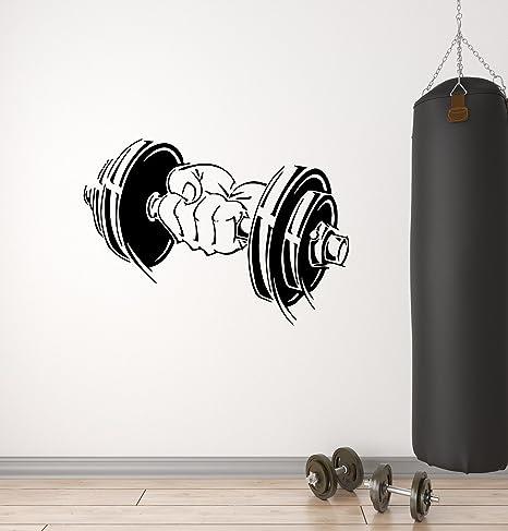 Mancuernas de vinilo (Bodybuilding entrenamiento deporte gimnasio brazo Fitness – Adhesivo decorativo para pared (