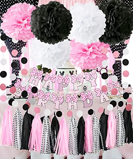 Minnie Mouse Party Decorations Happy Birthday DecorationsPink White Black Tissue Pom