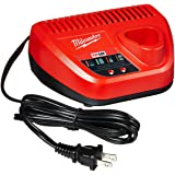 MILWAUKEE'S Genuine OEM 48-59-2401 M12 Lithium Ion 12 Volt Battery Charger w/LED Indicating, Red