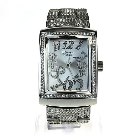 Mujer Luxury Classic rectangular Bling analógico cuarzo reloj de pulsera