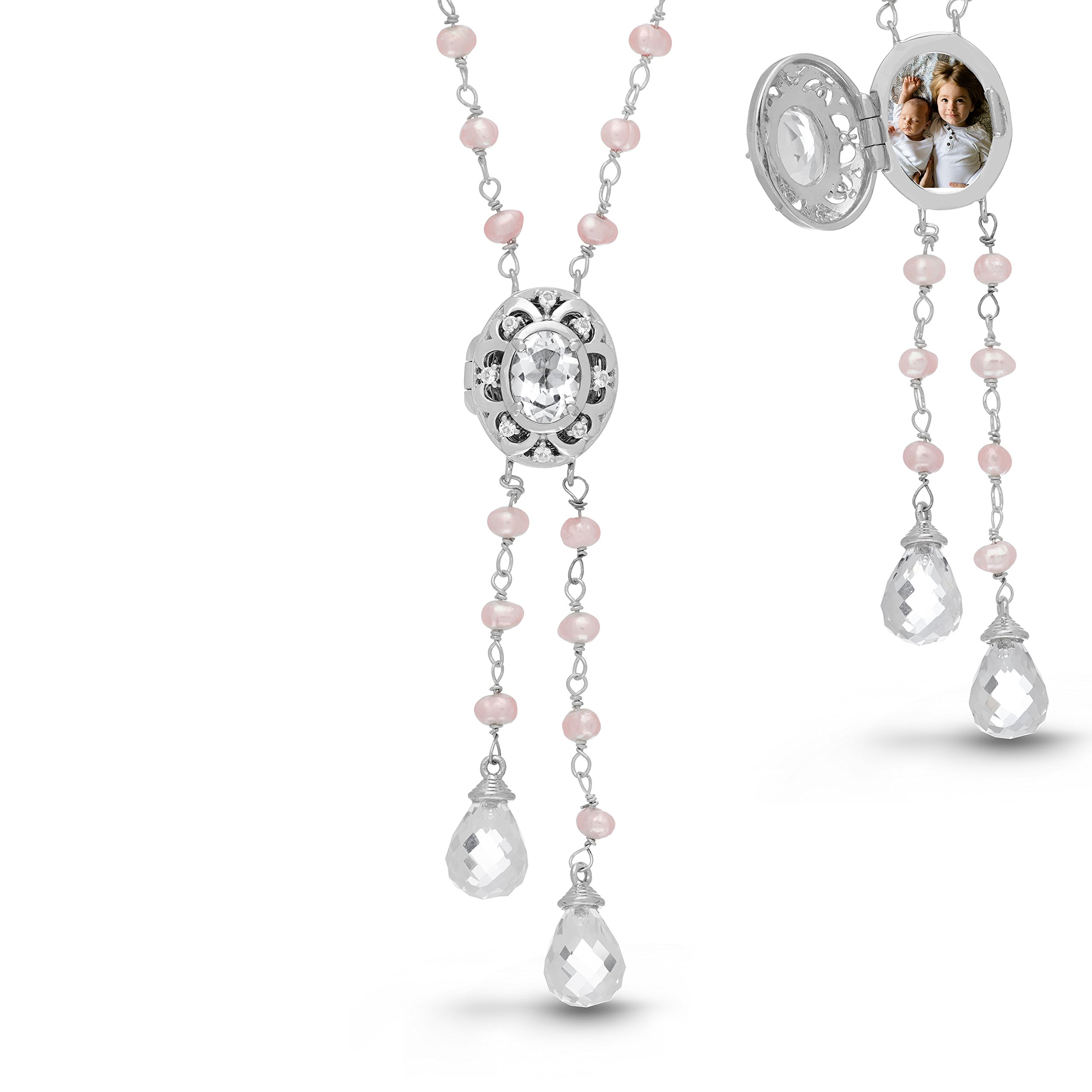 With You Lockets-Sterling Silver-Custom Photo Lariat Locket Necklace-That Holds Pictures For Women-The Cora