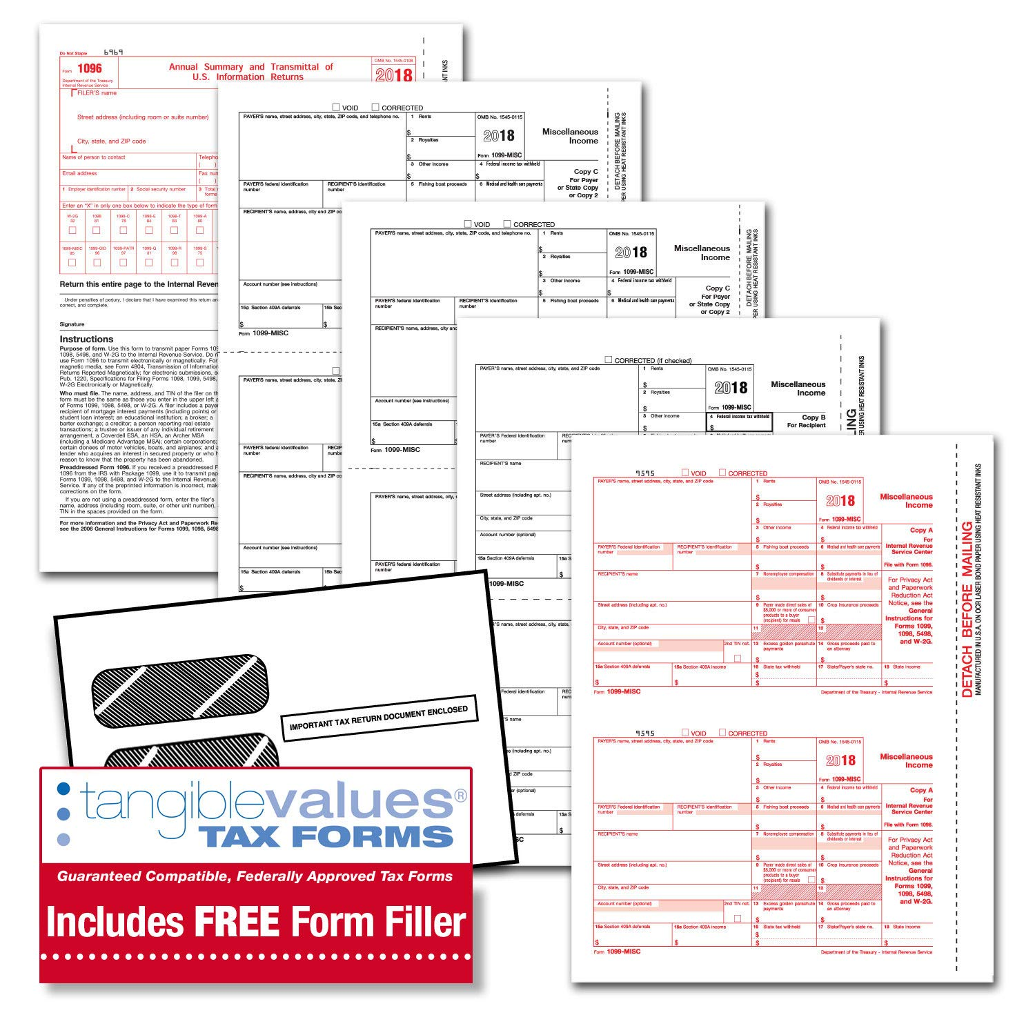 Tangible Values 1099 Misc Tax Forms (5-Part) Kit with Envelopes Plus Online Form Filler for 12 Individuals/Suppliers (2018)