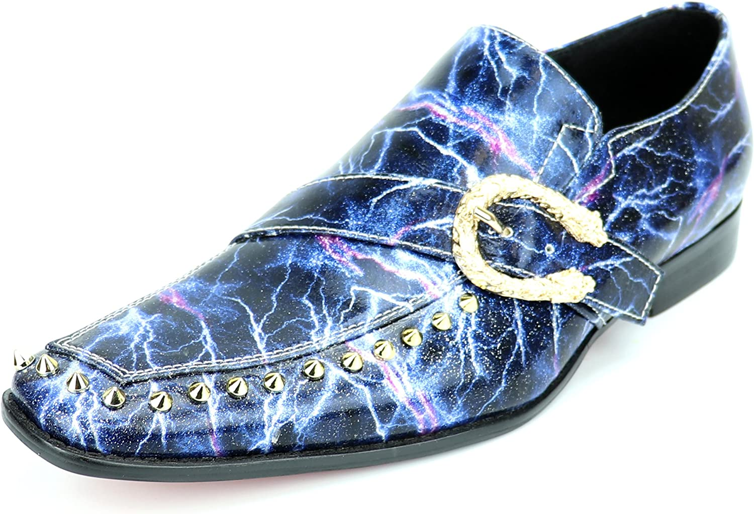 Fiesso by Aurelio Garcia FI-7248 Blue Patent Side Buckle and Studs Slip on Loafer European Shoe Designs