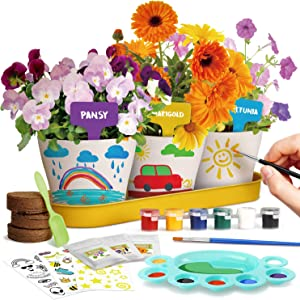 XXTOYS Paint & Plant Flower Growing Kit - Arts & Crafts for Kids - Kids Gardening Gifts for Girls - Crafts for Girls Ages 10-12, STEM Science Project, Grow Pansy,Petunia & Marigold Flowers