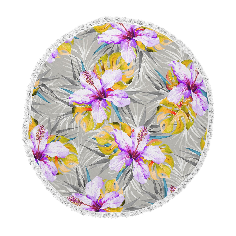 Kess InHouse Mmartabc Tropical Flowery Gray Purple Illustration Round Beach Towel Blanket
