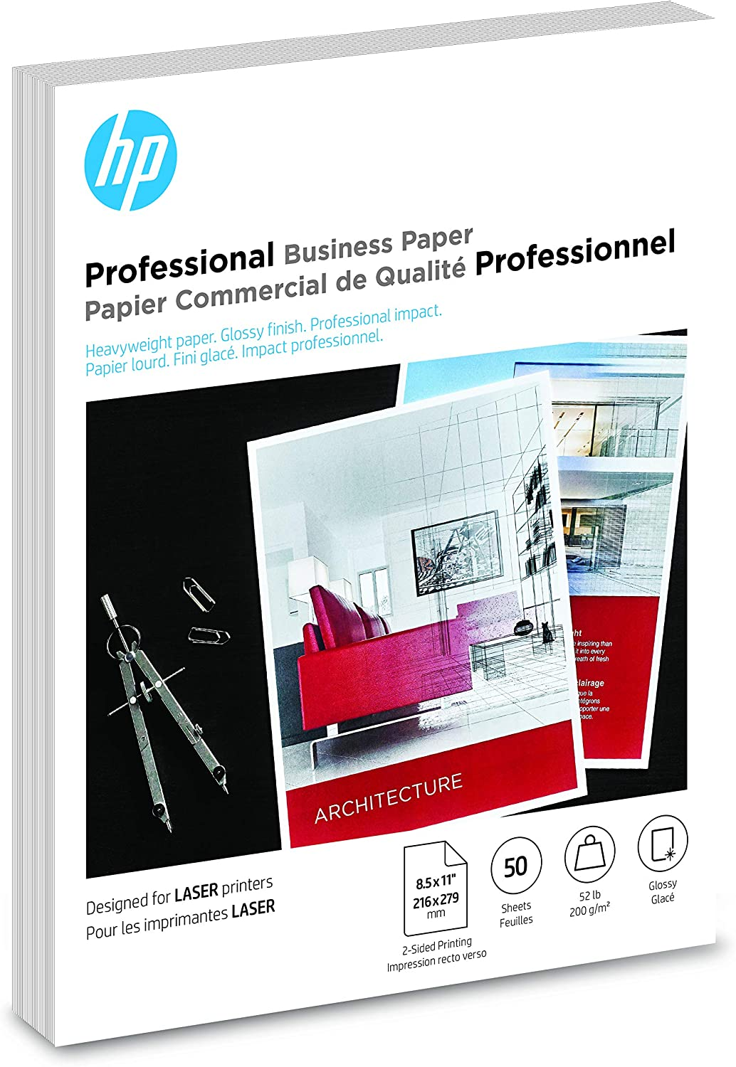 HP Brochure Paper | Glossy Professional Laser | 8.5x11 | 50 Sheets (4WN11A)