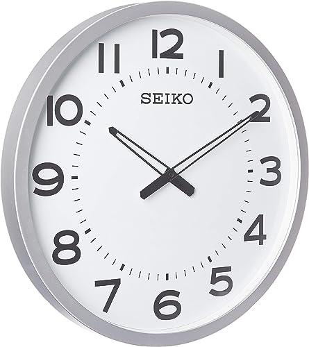 "Seiko 20"" Ultra-Modern Silver-Tone Framed Wall Clock"