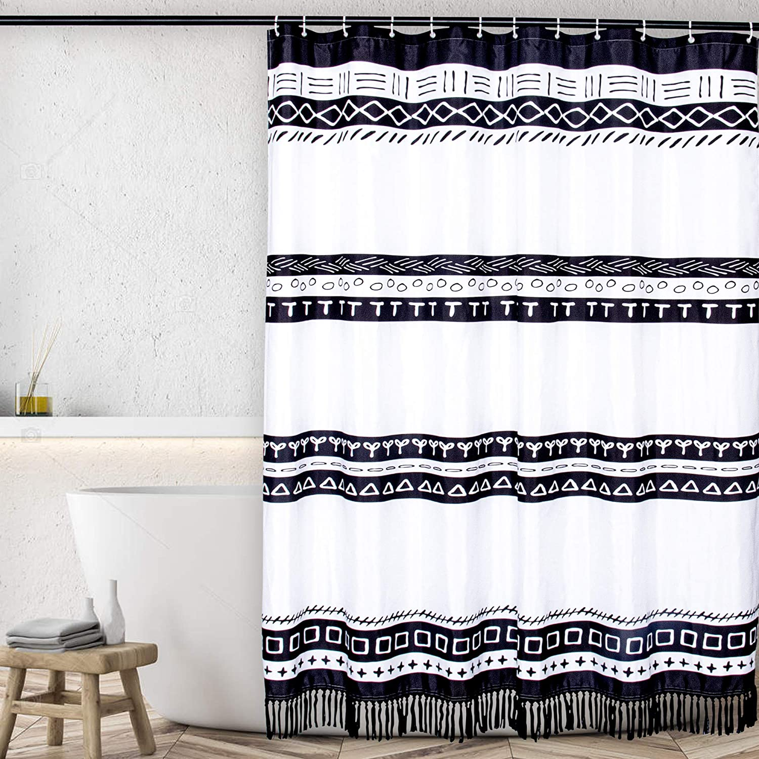 Jonhier Black and White Shower Curtain with Tassels, Boho Striped Geometric Modern Chic Pattern Waterproof Fabric Bathroom Curtains, Heavy Weighted Bath Decor Set with Hooks (72