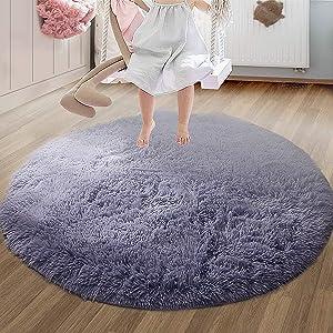 Fluffy Round Carpet for Kids Soft Bedroom Living Room, Circular Rugs Home Decor Non-Slip mat (Gray)
