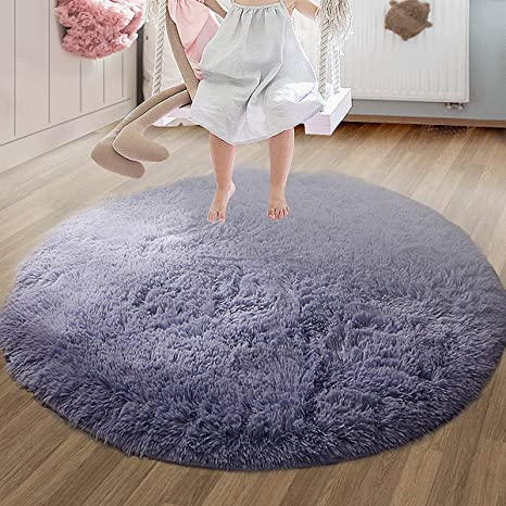 Room Bedroom Carpet Fluffy Mat Round Circle Non Slip Floor Small Rug Living Soft