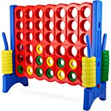 Giant 4 in a Row Connect Game – 4 Feet Wide by 3.5 Feet Tall Oversized Floor Activity for Kids and Adults – Jumbo Sized for O