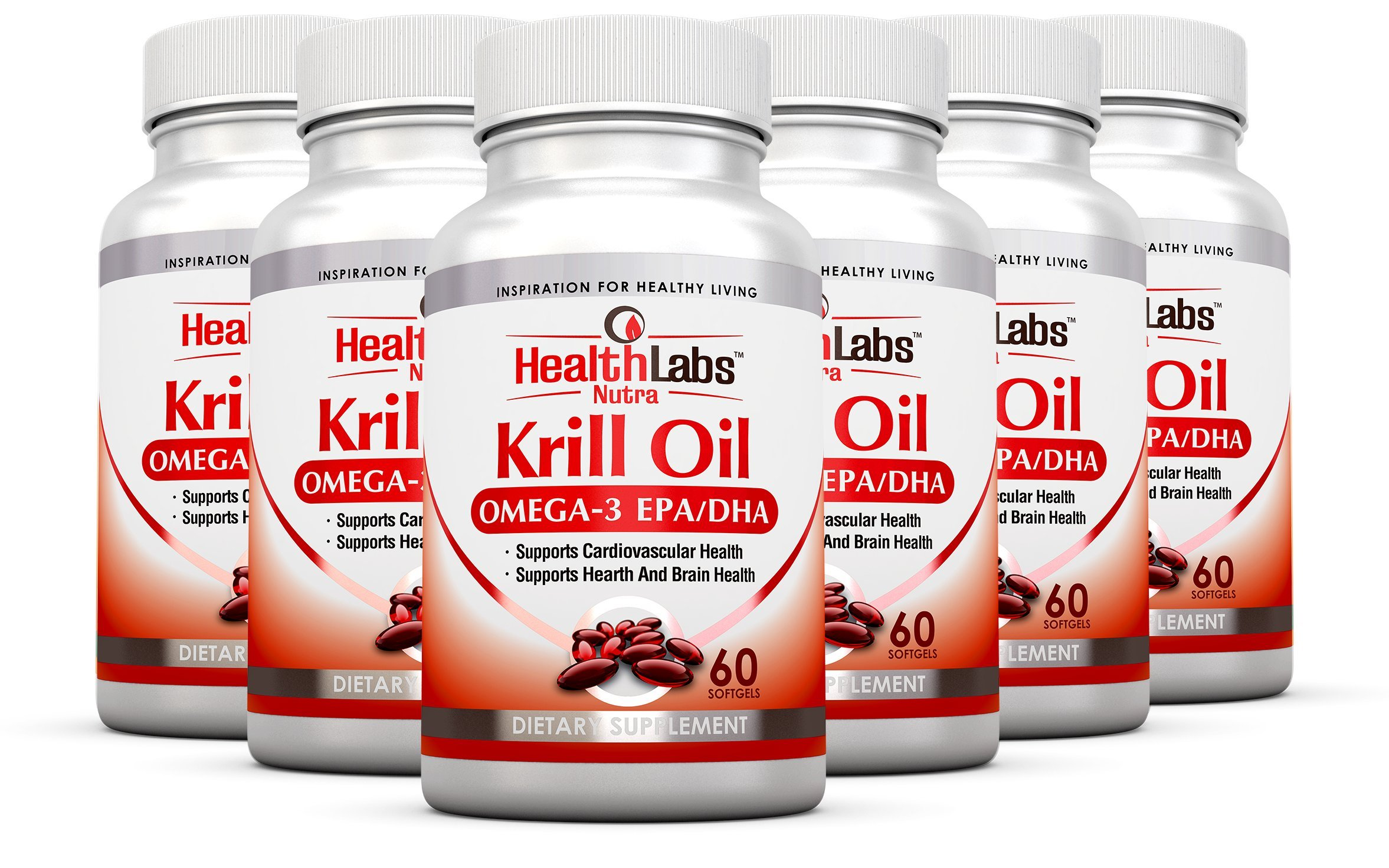 Health Labs Nutra Omega 3 Krill Oil 6-Month supply 1000 mg Highest Concentration of Omega-3's 6's, 9's DHA/EPA - (Pack of 6)