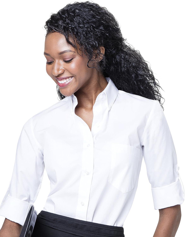 Staff Shirts De las mujeres Camisas Camisa de servidor WoButton-Down Regular Fit botón acumulativo de manga Down cuello con el bolsillo Grande Blanco: Amazon.es: Ropa y accesorios