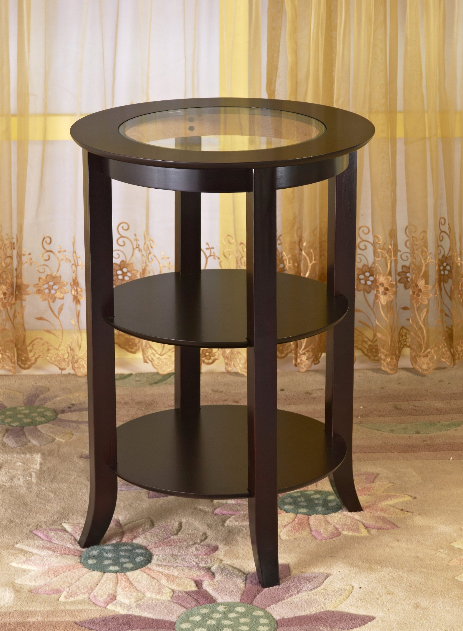 Frenchi Furniture Wood Round Side /Accent Table , Inset Glass, Two Shelves by Frenchi Home Furnishing (Image #2)