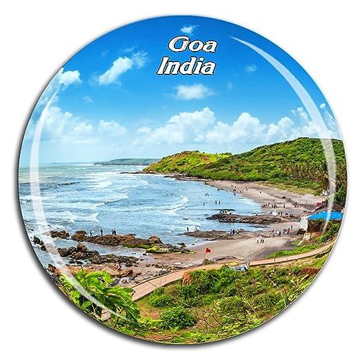Weekino Playa Anjuna Goa India Imán de Nevera Cristal de Cristal ...