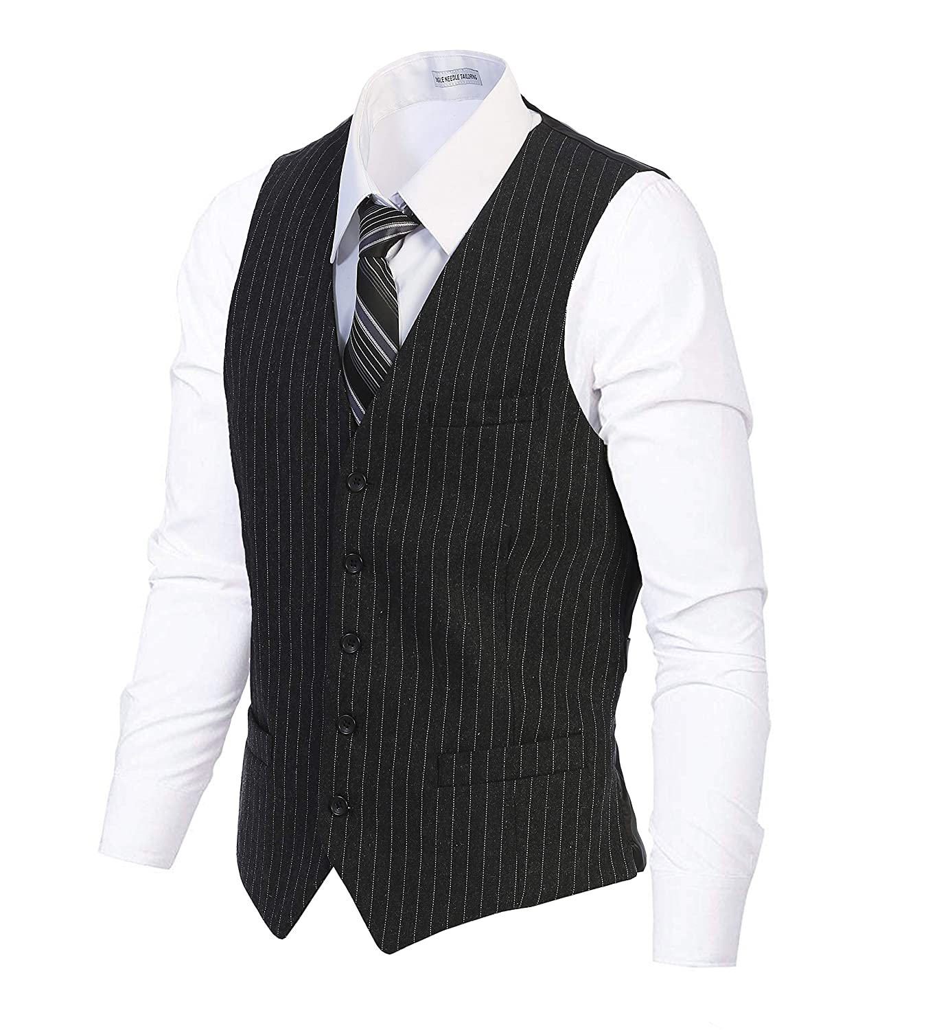1920s Style Mens Vests Gioberti Mens 5 Button Formal Wool Blend Tweed Pin Stripe Vest $29.99 AT vintagedancer.com