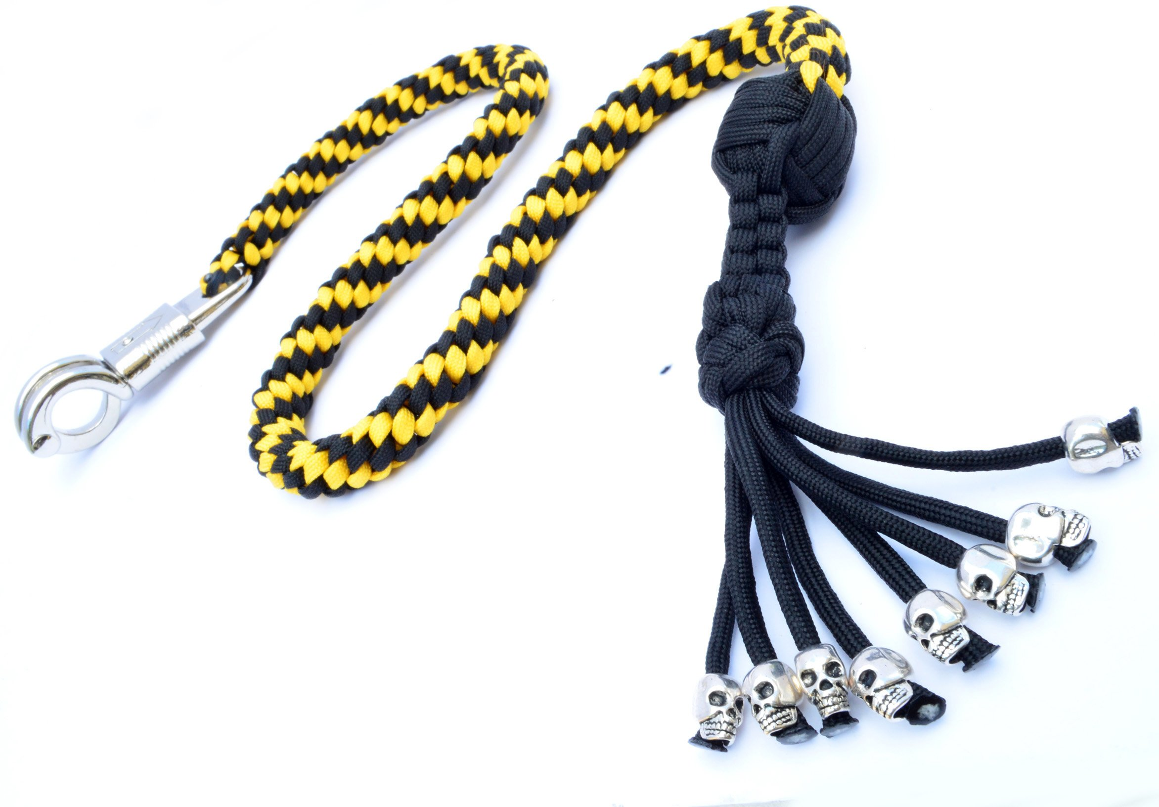 550 Paracord Motorcycle Whip Get Back whip Ball & Skulls 36'' Rope - Yellow / Black