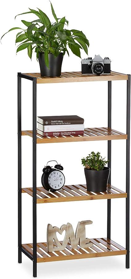 Relaxdays Estantería de bambú, Multi-usos, Organizador para el baño o Cocina, Cuatro estantes, Marco de Metal, Marrón, 97 x 50,5 x 27 cm