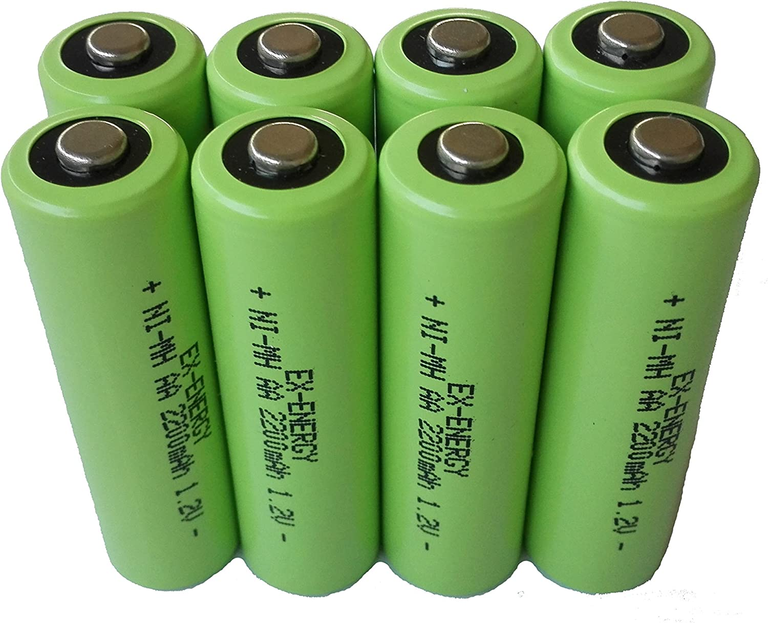EX-ENERGY AA 1.2V 2200mAh LSD Button top NiMH Rechargeable Batteries 8 Pack