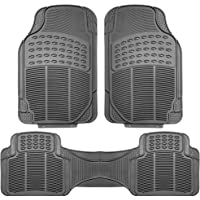 FH GROUP f11306black negro todo tipo de clima alfombrilla de piso, 3piezas (Full Set trimmable Heavy Duty), Gray-Solid, Gray-Solid