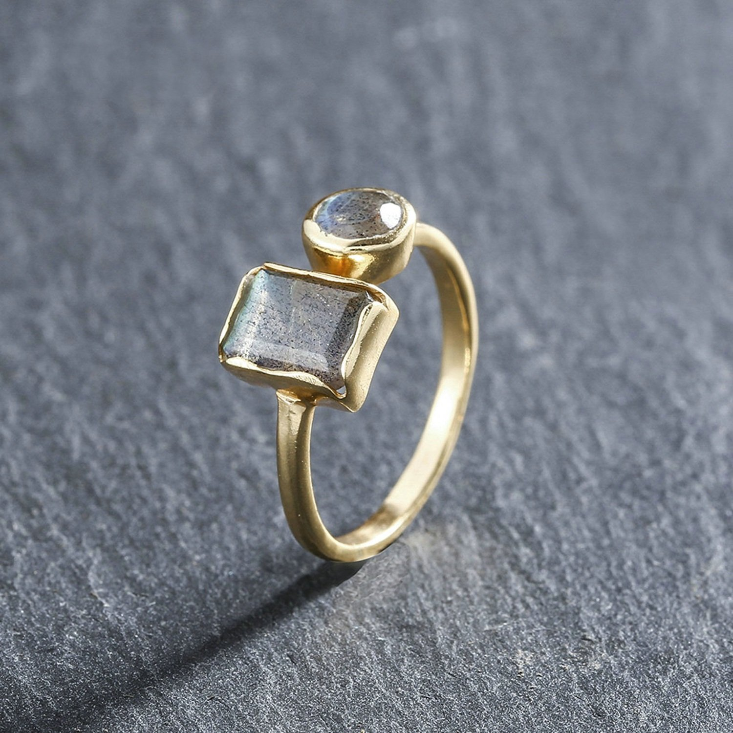 Natural Stone Inlay Gold Plated Ring Adjustable Aokarry 925 Sterling Silver Rings for Women