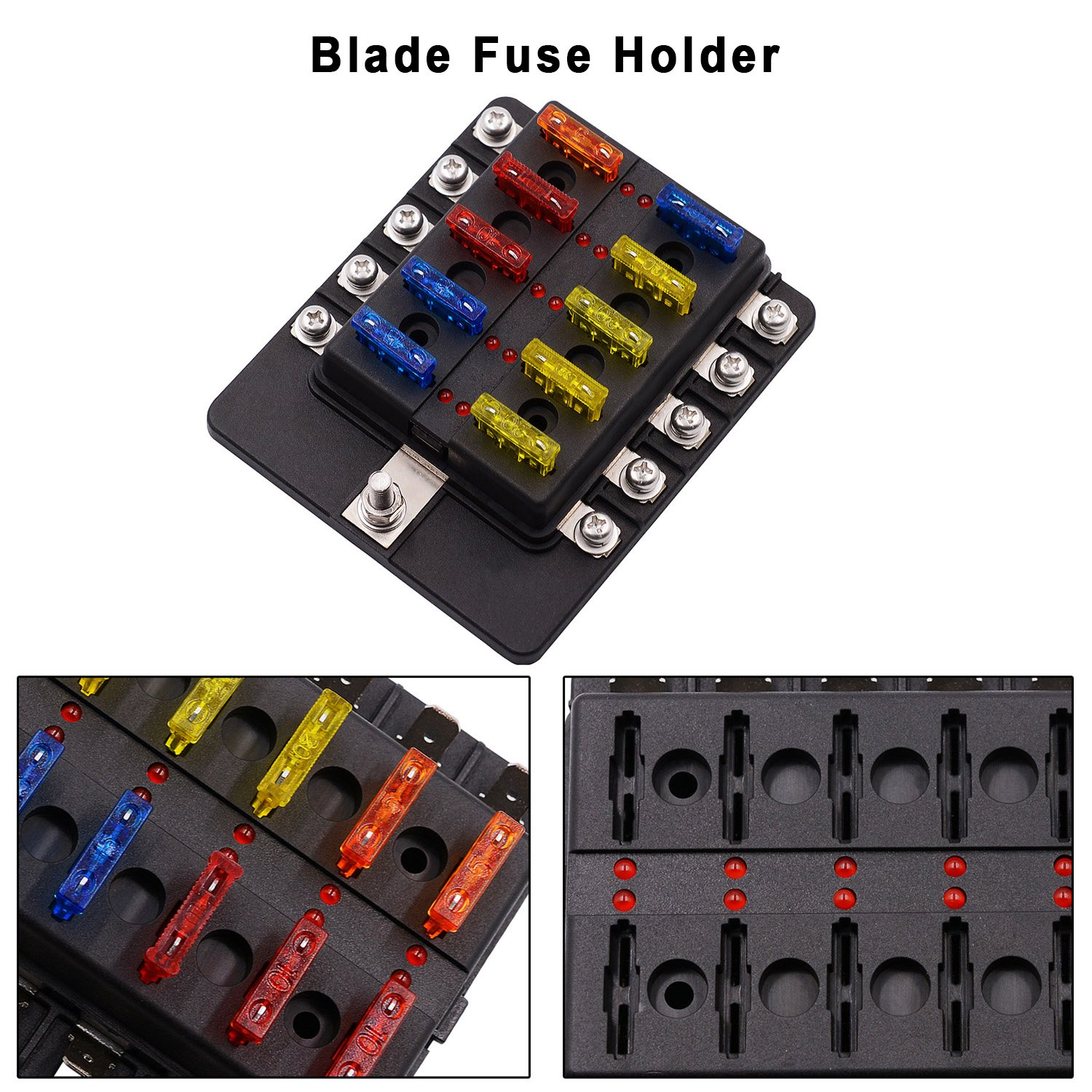 Amazon.com: VETOMILE 10-way Fuse Box Blade Fuse Block Holder Screw Nut  Terminal 5A 10A 15A 20A Free Fuses LED Indicator Waterpoof Cover for Automotive  Car ...
