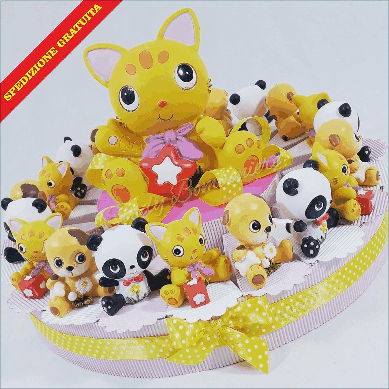 Torte Gastgeschenk Erster Geburtstag Taufe Geburt Tierchen mit Spardose Zentrale Spardose mit Katze Torta Da 20 Fette 4863ff