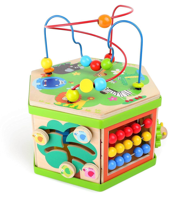 Motorikw/ürfel Safari ab 12 Monate Tierwelt mit Motorikschleife Baby-Kinderspielzeug aus Holz vielf/ältiges Spielerlebnis auf sieben Spielfl/ächen Schiebespiel und Rechenschieber