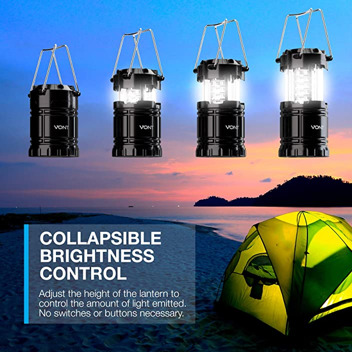 Vont 2 Pack LED Camping Lantern, Super Bright Portable Lanterns, Must Have During Hurricanes, Emergencies, Storms, Outages