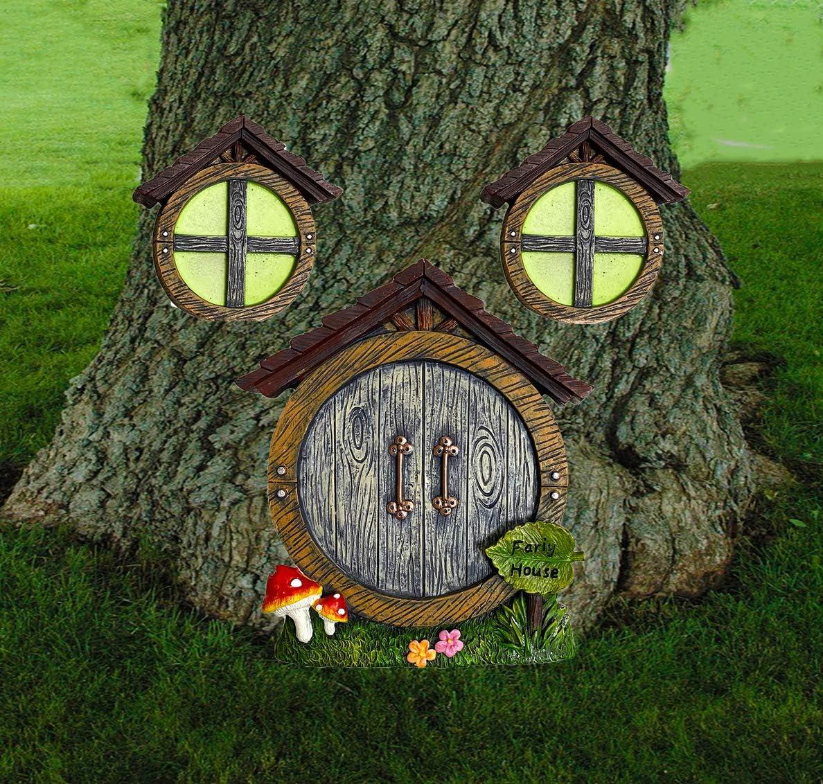 ALLADINBOX Miniature Gnome Fairy House Window and Door with Flowers Mushrooms for Trees Decoration, Glow in Dark Fairies Sleeping Door and Windows, Yard Art Garden Sculpture, Lawn Ornament Décor