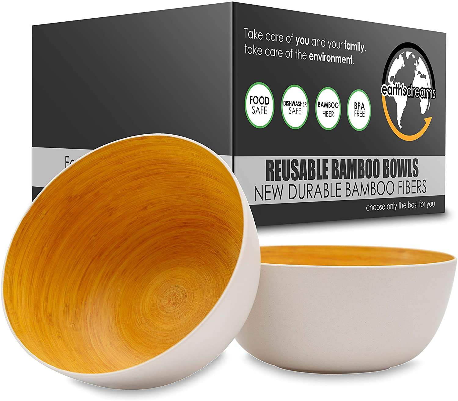 Earth's Dreams Reusable Wooden Bowls for Food [Set of 2] BPA-Free, Durable & Lightweight Bamboo Fiber Salad Bowls Serving for Weddings, Parties, Camping, Christmas, Picnic, BBQs and all Occasions