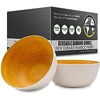 Earth's Dreams Reusable Wooden Bowls for Food [Set of 2] BPA-Free, Durable & Lightweight Bamboo Fiber Salad Bowls…