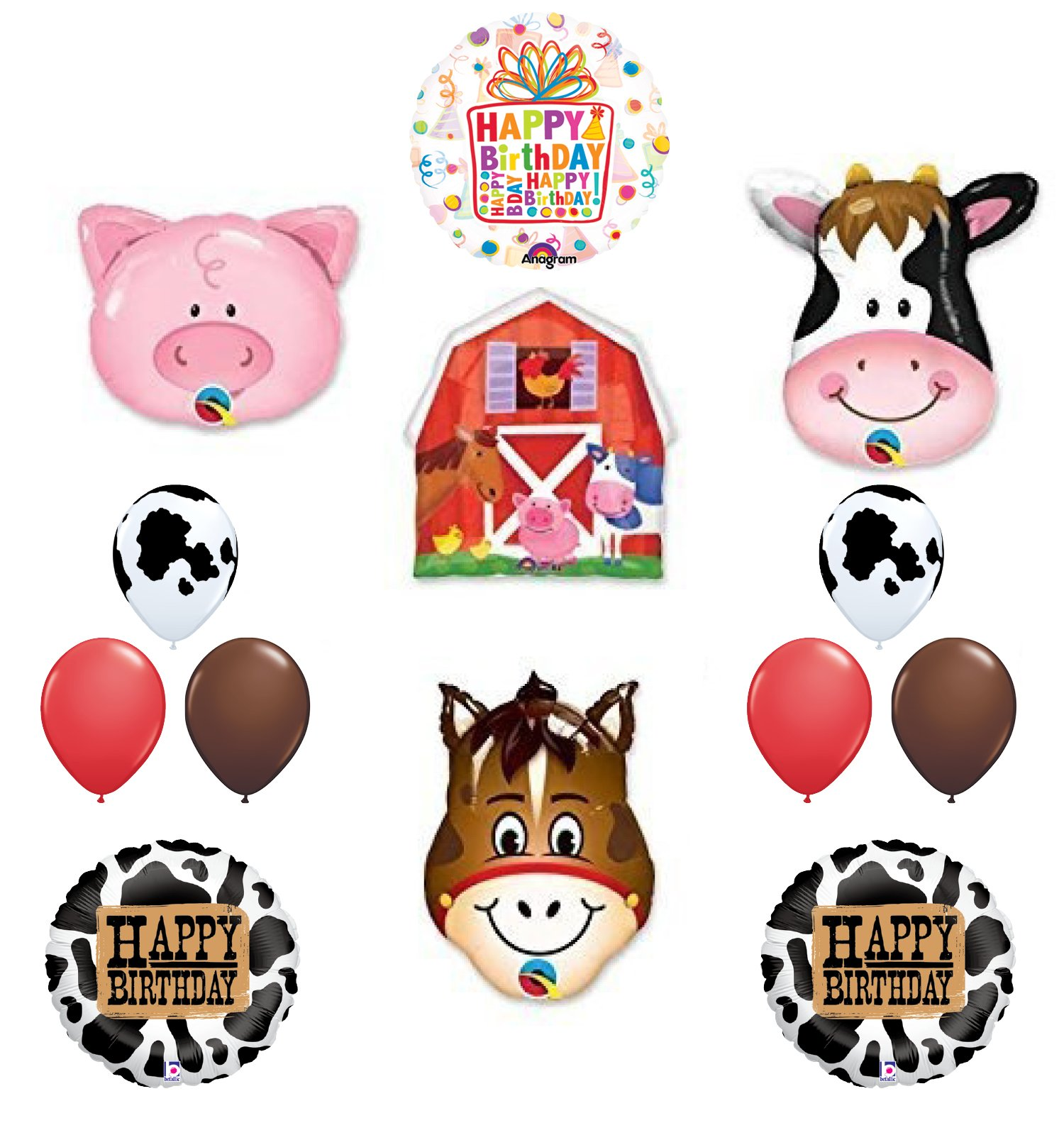 The ULTIMATE Barn Farm Animals Birthday Party Cow, Horse, Pig, Barn Balloons Decorations Supplies by Mayflower Products